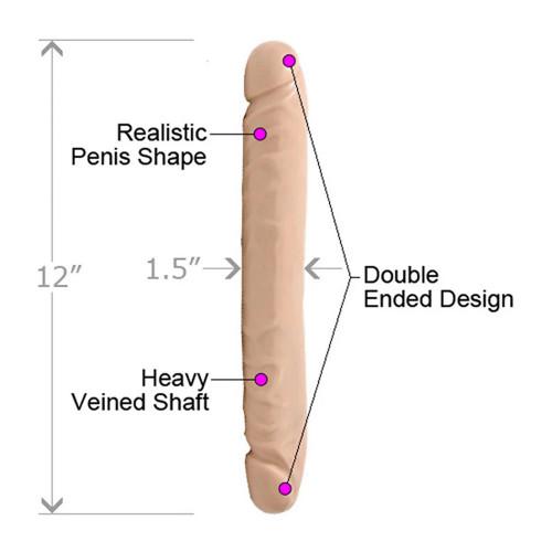 Dương Vật Giả Hai Đầu Jr. Veined Double Header 12 inch